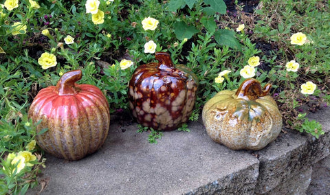 3pc Assorted Ceramic Pumpkins - 4