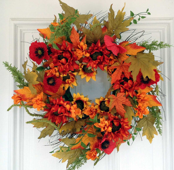 "Autumn Cotton Wreath with Burlap Bow - 24"" - 1"