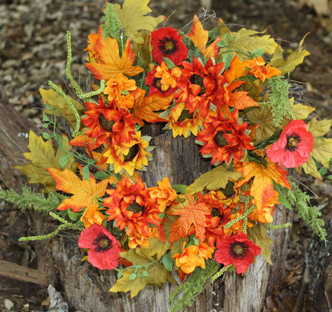 "Autumn Cotton Wreath with Burlap Bow - 24"" - 3"