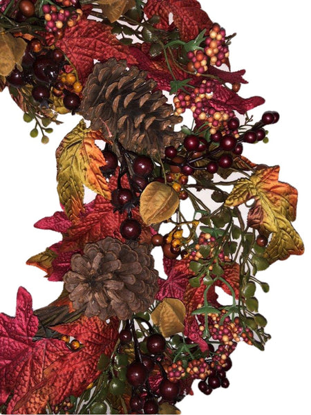 Autumn Berry Pine Cone Wreath-24""