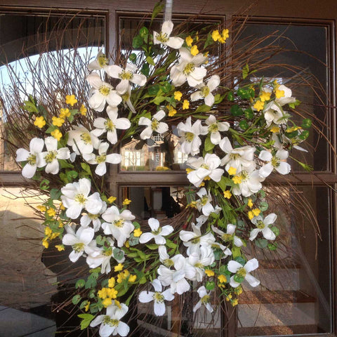 "Blooming Dogwood Spiral Wreath - White - 22"" - 5"
