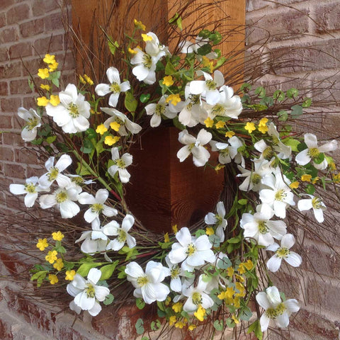 "Blooming Dogwood Spiral Wreath - White - 22"" - 4"