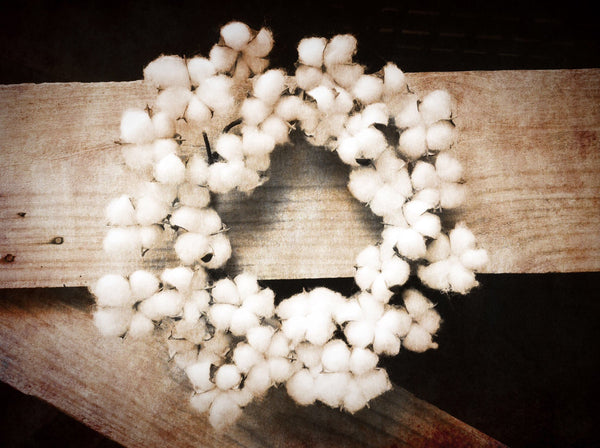 Vintage Faux Cotton Wreath -14""