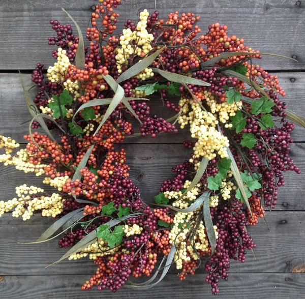 "24"" Bountiful Berry Wreath - Cappuccino"