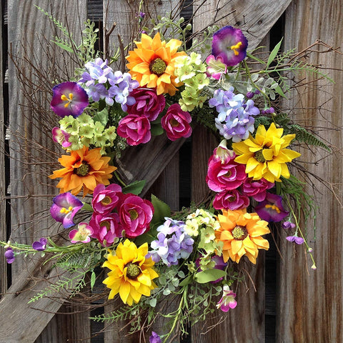 Spring Color Burst Spiral Wreath  - 24""