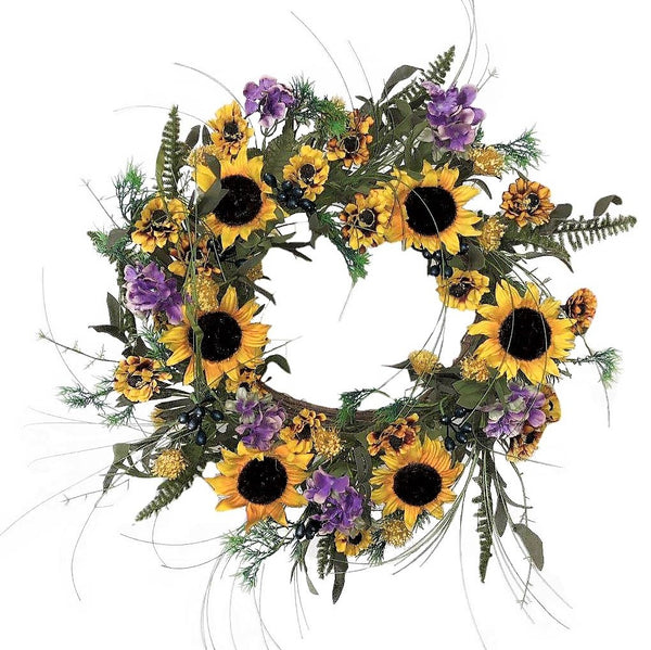 Sunflower Cottage Wreath -24""