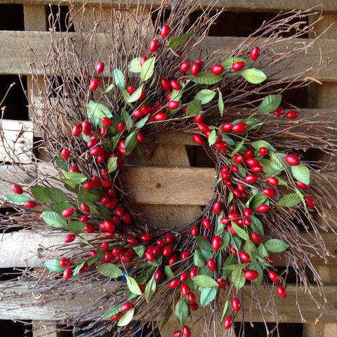 "Twig Spiral Cranberry Wreath - 22"" - 2"