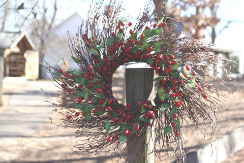"Twig Spiral Cranberry Wreath - 22"" - 4"