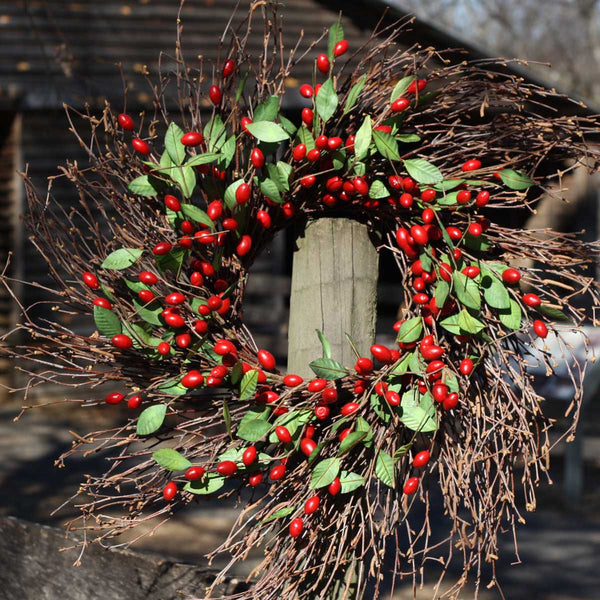 Twig Spiral Cranberry Wreath - 22""