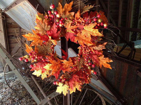 "Fall Berry Leaf Wreath 22"" - 2"