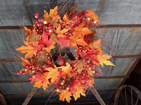 "Autumn Berry Wreath 22"" - 3"