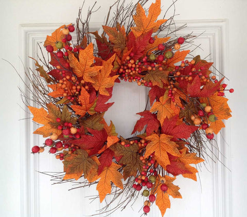 "Fall Berry Leaf Wreath 22"" - 4"
