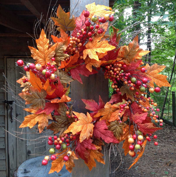 "Fall Berry Leaf Wreath 22"" - 1"