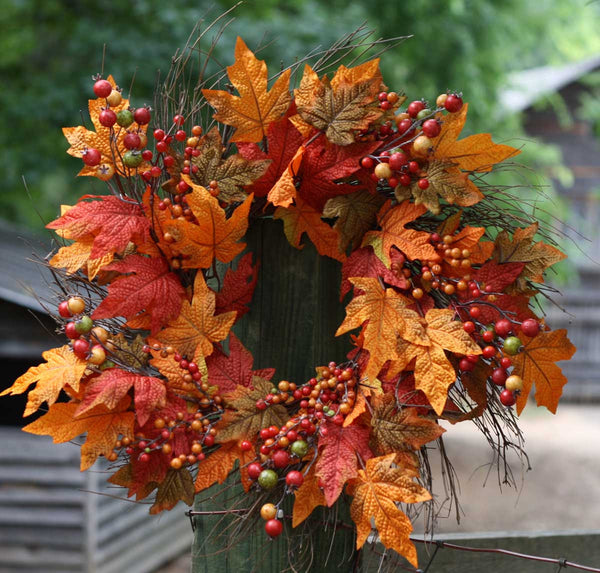 "Autumn Berry Wreath 22"" - 1"