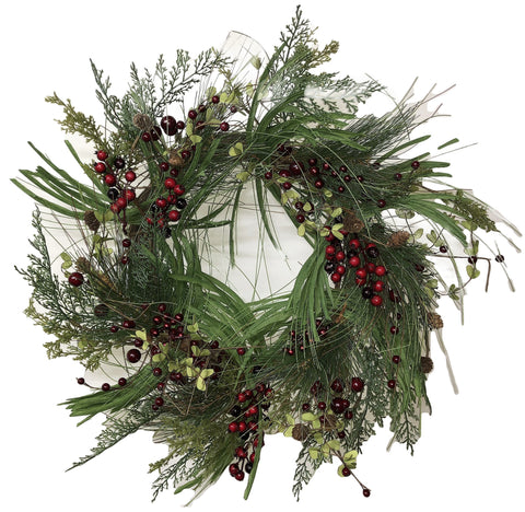 Farm House Red Berry & Pine Holiday Wreath - 24""