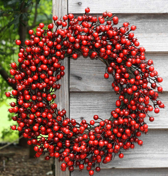 "22"" Festive Red Berry Wreath - 3"