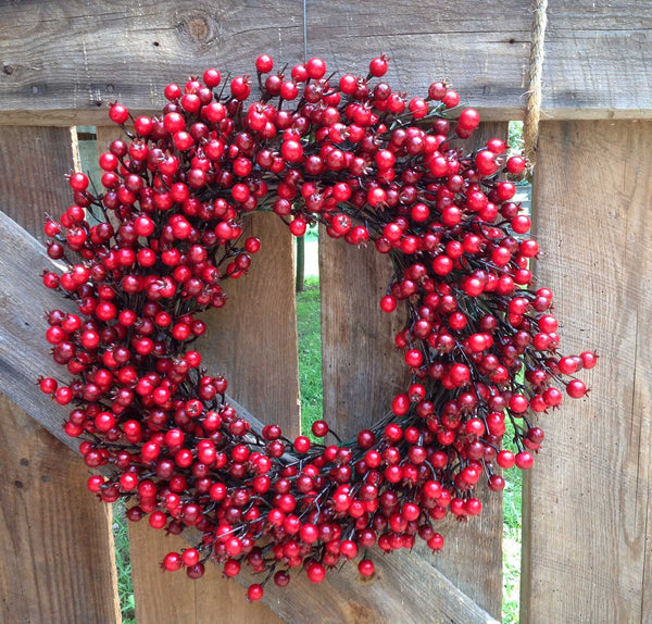 "22"" Festive Red Berry Wreath - 4"