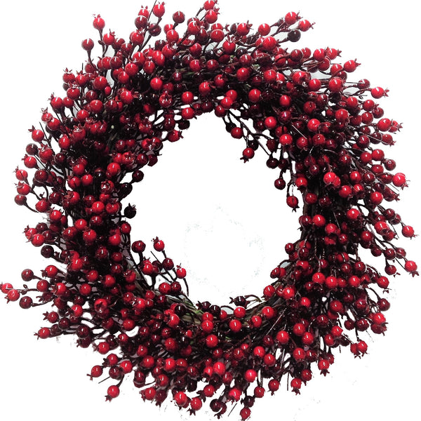 "22"" Festive Red Berry Wreath"