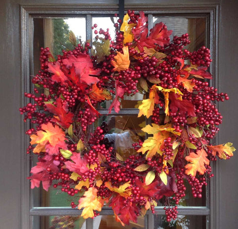 "Fall Mix Crimson Red Berry Wreath - 24"" - 4"