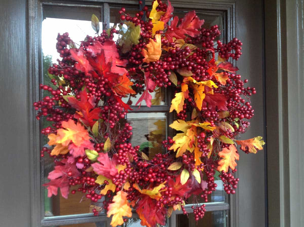 "Fall Mix Crimson Red Berry Wreath - 24"" - 3"
