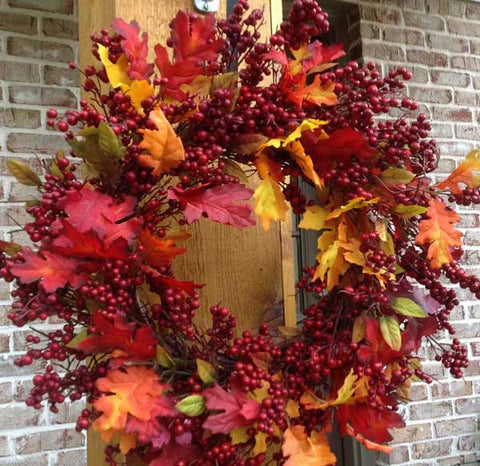 "Fall Mix Crimson Red Berry Wreath - 24"" - 1"