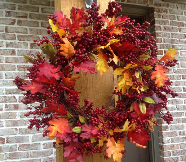 "Fall Mix Crimson Red Berry Wreath - 24"" - 5"
