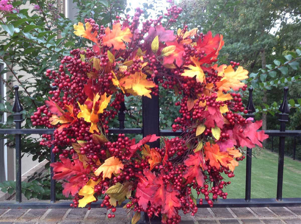 "Fall Mix Crimson Red Berry Wreath - 24"" - 2"