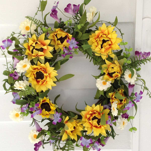"Summer Sunflower Wreath - 22"" - 1"