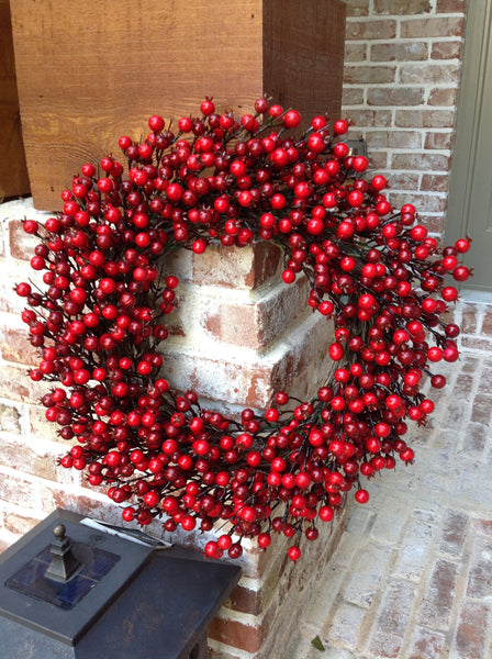"22"" Festive Red Berry Wreath - 5"