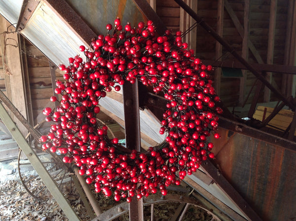 "22"" Festive Red Berry Wreath - 7"