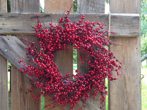 "24"" Glossy Berry Spiral Wreath - Red / Burgundy - 2"