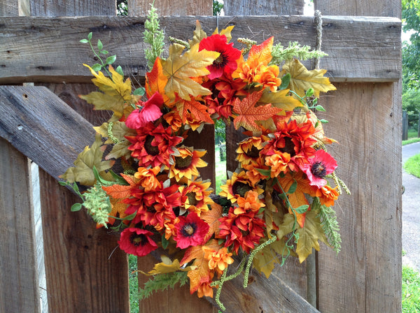 "Autumn Cotton Wreath with Burlap Bow - 24"" - 4"