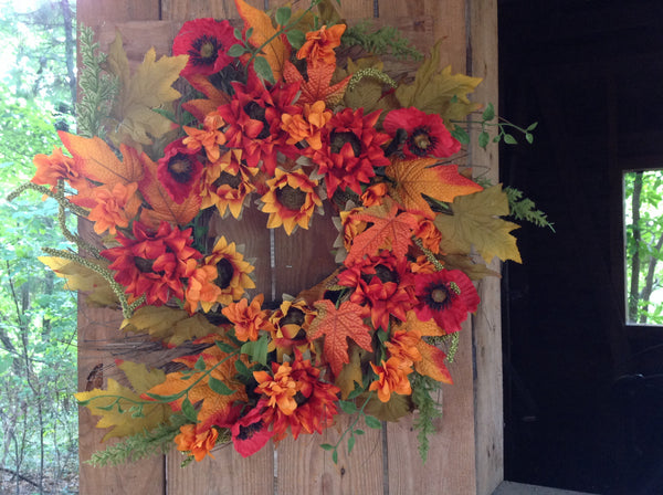 "Autumn Cotton Wreath with Burlap Bow - 24"" - 5"