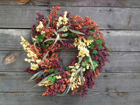 "24"" Bountiful Berry Wreath - Cappuccino - 5"