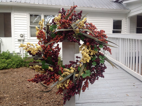 "24"" Bountiful Berry Wreath - Cappuccino - 6"