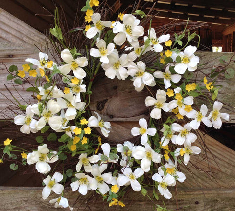 "Blooming Dogwood Spiral Wreath - White - 22"" - 2"