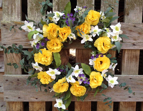 "Yellow Harmony Wreath - 22"" - 5"