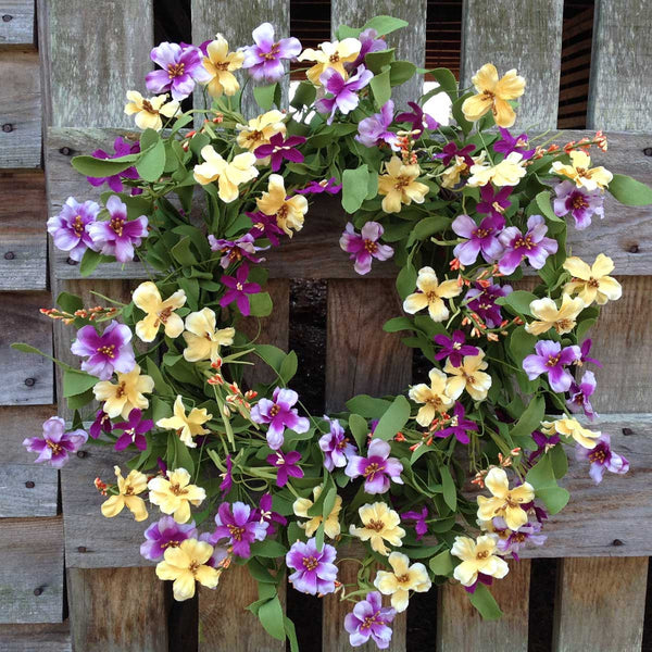 "Fresh Picked Pansies Wreath - 22"" - 1"