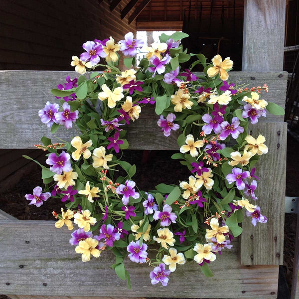 "Fresh Picked Pansies Wreath - 22"" - 2"