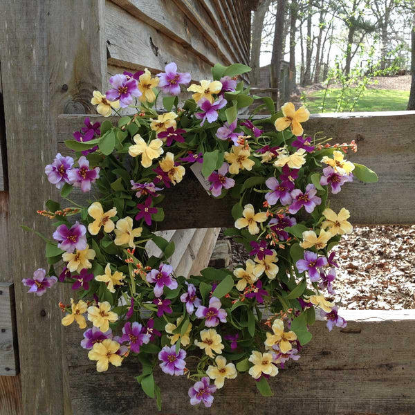 "Fresh Picked Pansies Wreath - 22"" - 3"