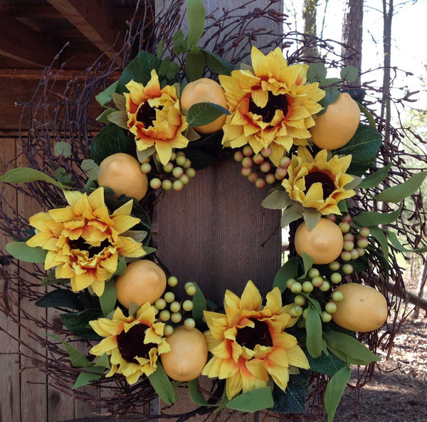 "Lemon Sunflower Wreath 20"" - 1"
