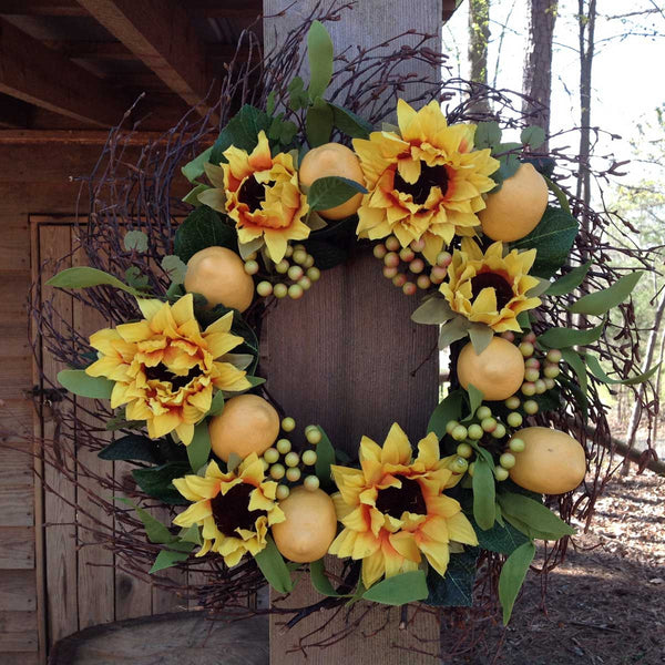 "Lemon Sunflower Wreath 20"" - 5"