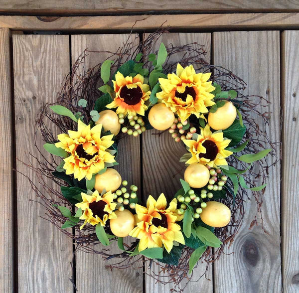 "Lemon Sunflower Wreath 20"" - 2"