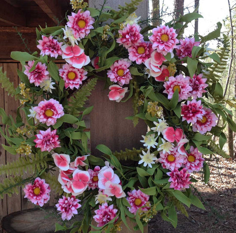"Pink Harmony Wreath - 22"" - 1"