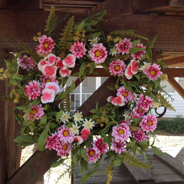 "Pink Harmony Wreath - 22"" - 4"