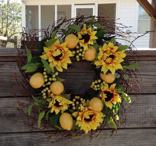 "Lemon Sunflower Wreath 20"" - 3"