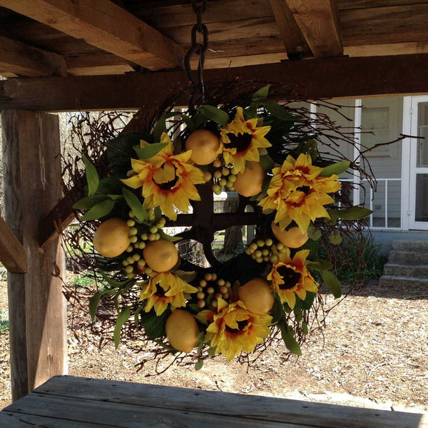 "Lemon Sunflower Wreath 20"" - 4"