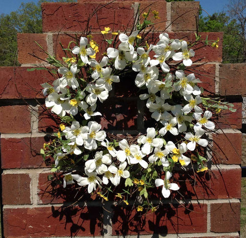 "Blooming Dogwood Spiral Wreath - White - 22"" - 6"