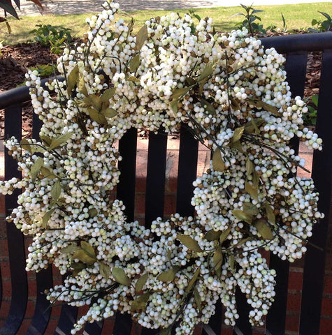"Bountiful Berry Wreath - Ivory Cream - 24"" - 1"