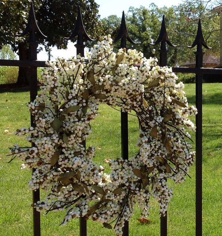 "Bountiful Berry Wreath - Ivory Cream - 24"" - 3"